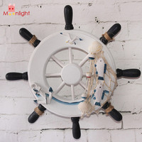 "9""Beach Wooden Boat Ship Rudder With Fishing Net And Little Fishes Shells For Home Nautical Decoration in Blue or White"