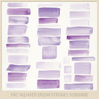 Watercolor clipart strokes squared (140 pc) purple, lilac, violet. hand painted overlays for logo design blogs cards printables wall art etc