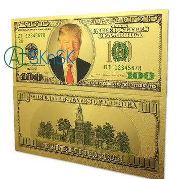 New Arrival 10pcs/lot The 45th President of the United States America Donald Trump $100 Bill Plated Gold Plastic Bank Note Money