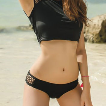 Black Cut Out Top with Mini Shorts