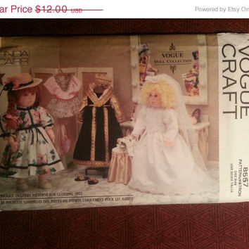 "1992 Vogue Craft Sewing pattern, 8557! Vogue Doll Collection/18"" Doll Clothes/Veil/Wedding Dress/Bouquet/Slippers/Bodysuit/Tutu/Wardrobe"