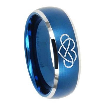 8mm Infinity Love Dome Brushed Blue 2 Tone Tungsten Carbide Mens Promise Ring
