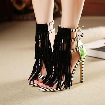 Women Strappy summer tassel ankle boots womens