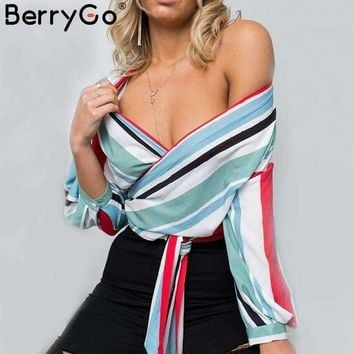 DCCKON3 BerryGo Casual striped v neck chiffon blouse shirt women Sexy off shoulder long sleeve blouse 2018 Spring streetwear wrap tops