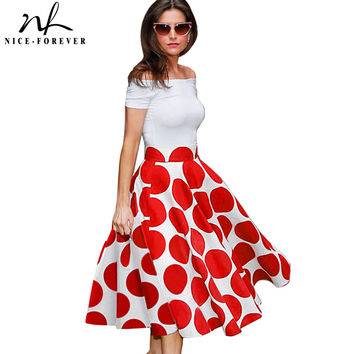 Nice-forever 50s Fashion Slash Neck Ladylike Vintage Charming Print Dot Off shoulder Party Ball Gown Formal Woman Dress A015