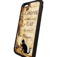 Cat Iphone 6 rubber case Black Flexible Soft TPU Case Slim Case for iPhone 6 (4.7 inch)