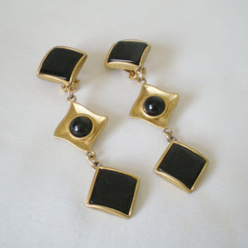 Black & Gold Vintage ClipOn Earrings / by RetroRevivalBoutique