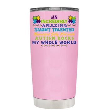 TREK An Amazing Smart Talented Kid with Autism on Pretty Pink 20 oz Tumbler Cup