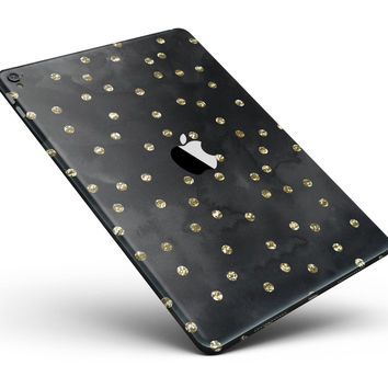 """Black Watercolor and Gold Glimmer Polka Dots Full Body Skin for the iPad Pro (12.9"""" or 9.7"""" available)"""