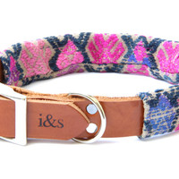 Leather Dog Collar with Vintage Textile Sleeve // Violet Tapestry // Optional ID Tag