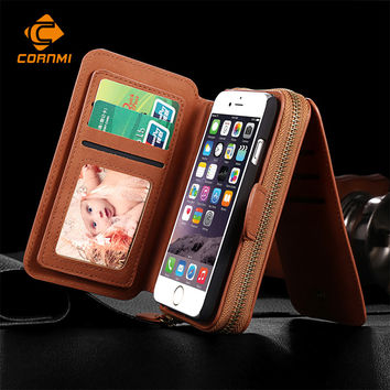 Multifunction Wallet Leather Case For Samsung S5 S6 S7 EDGE NOTE4 NOTE5 For IPhone 5S 6 Plus 7 Plus Pouch Phone Handbag Cover