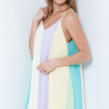 Entro Color Block Chiffon Dress Mint, Lavender, Yellow, and Cream