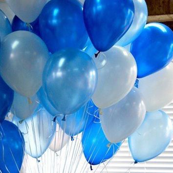 PuTwo Ballons-party Balloons-children's Party-large Balloons-size:12'' White/blue/light Blue Balloons 100pcs/pack