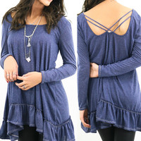 Static Waves Navy Two-Tone Sheer Knit Ruffle Babydoll Top