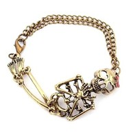 Suppion® Vintage Alloy Rock Gothic Punk Skeleton Skull Charm Bracelet