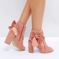 River Island Bow Side Open Toe Shoe Boots at asos.com