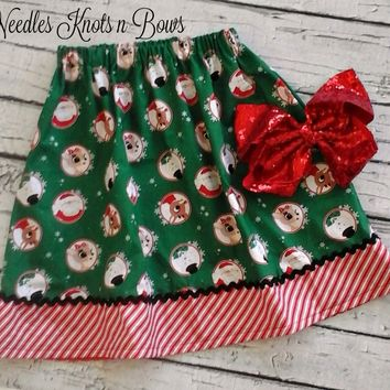Girls Rudolph Christmas Skirt, Baby Girls Christmas Skirt, Santa Skirt
