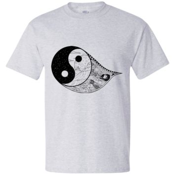 Gothic Yin-Yang, Sky, Mountains And Parchment Beefy T-Shirt
