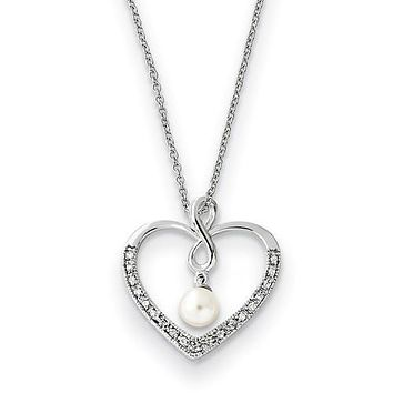 Sterling Silver CZ & Cultured Pearl 'My Friend' Heart Necklace