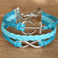 SALE-- Anchor bracelet, infinit bracelet,braid leather bracelet,  bridesmaid bracelet