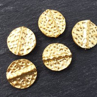 Gold Hammered Beads, Round Beads, Disc Beads, Statement Beads, Gold Beads, Gold Spacers, Beading Supplies, Boho, 22k Matte Gold Plated - 5pc