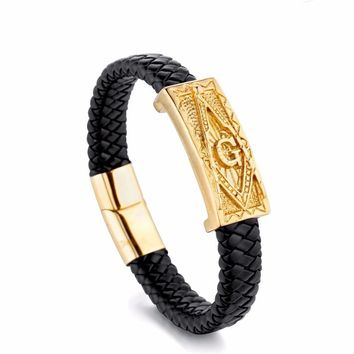 Magnetic Buckle Genuine Leather Stainless Steel Masonic Bracelets