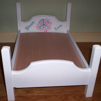 Handcrafted hippie bed made for American Girl doll  white with peace love design