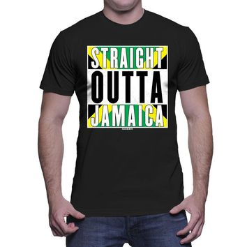 Straight Outta Jamaica T-Shirts - Men's Crew Neck Novelty Top Tee