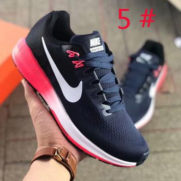 NIKE Air Zoom Structure 21 Women And Men Fashion New Mesh Hook Contrast Color Running Sports Shoes