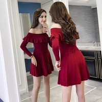 Korean Sexy Autumn Winter Shoulder less Dress SD01282