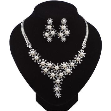 Pearl Crystal Flower Choker Jewelry Sets