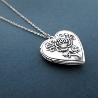 Vintage, Style, Rose, Heart, Locket, Necklace