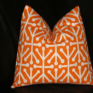 ORANGE Pillows TRIO chevron, damask, jacks Decorator Throw Pillow COVERS set of Three 20 inch tangerine, natural Zig Zag 20""