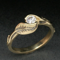 DELICATE TWOLEAF Ring made in either 14k yellow gold by BandScapes