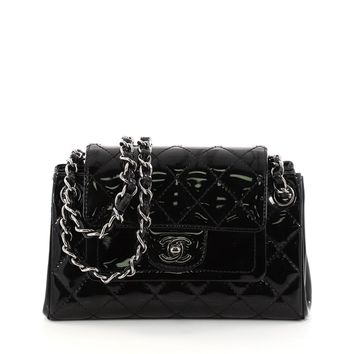 Chanel Chain Double Accordion Flap Bag Quilted Patent Small