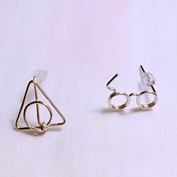 Harry Potter Scar Glasses and Deathly Hallows Ear Studs / Ear Posts / Earrings / Lighting Scar/ Wire Ring/ Wire Wrapped/  Made to Order