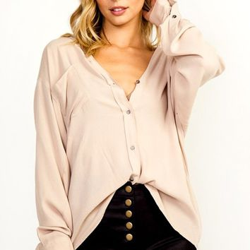 Layered Effect Long Sleeve Button Front Oversized Loose High Low Blouse Top - 3 Colors Available