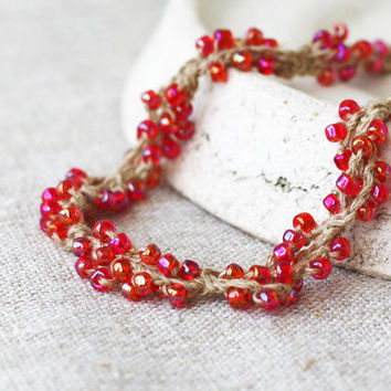 Berry red necklace Rustic Natural linen jewelry Crochet necklace with red glass beads Fall fashion Gift for her
