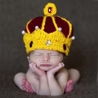 Handmade Crochet King Crown Baby Crystal Pearls Beanies Hats Caps Newborn Boy Girl Photography Props Knitted Cap H125
