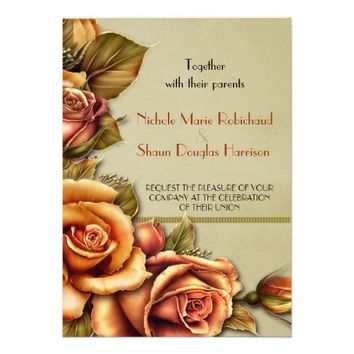 Autumn Rose Glow Floral Wedding Invitation