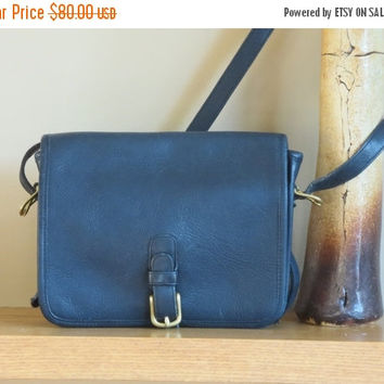 ON SALE Rare NYC Coach Navy Blue Leather Medium Saddle Pouch - Made in New York City U.S.A.- Vgc- Nice Bag