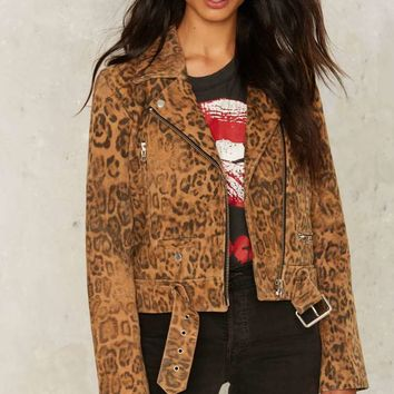 Nasty Gal Collection Cool Cat Leopard Suede Moto Jacket