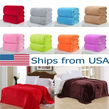 New Super Soft Micro Plush Fleece Blanket Solid Bedding Soft Warm Throw Rug Sofa