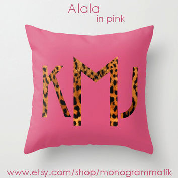 Monogram Personalized Custom Pillow Cover 16x16 Couch Art Bedroom Room Fancy Decor Initials Name Hot Pink Teal Black Neon Leopard Spots