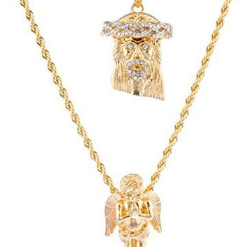 """Goldtone Layered Jesus Piece and Angel Pendants with a 24"""" & 30"""" Rope Necklace"""