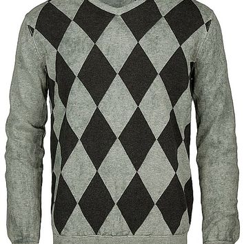 Age Of Wisdom Argyle V-Neck Sweater