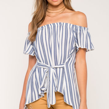 Carrie Stripe Off Shoulder Top