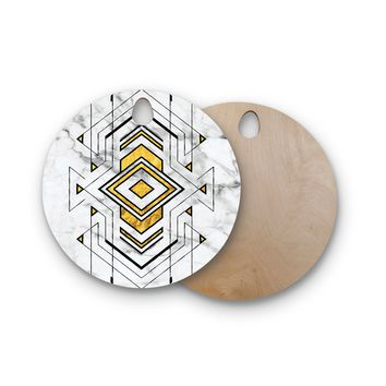 "KESS Original ""Geo Marble Graphic"" Gold Tribal Round Wooden Cutting Board"