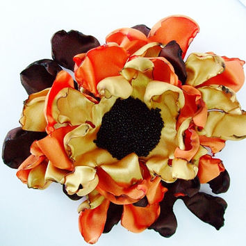 Wedding Flower, Orange, Golden Yellow, Brown, Sunflower, Hair Clip, Pin Brooch, Maternity Sash, Bridesmaids, Flower Girl, Bridal Sash