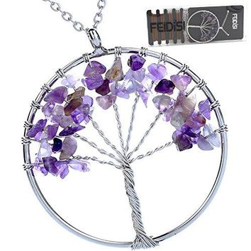AUGUAU Tree of Life Necklace Amethyst Rose Crystal Pendant Necklace Chakra Jewelry Mothers Day Gifts